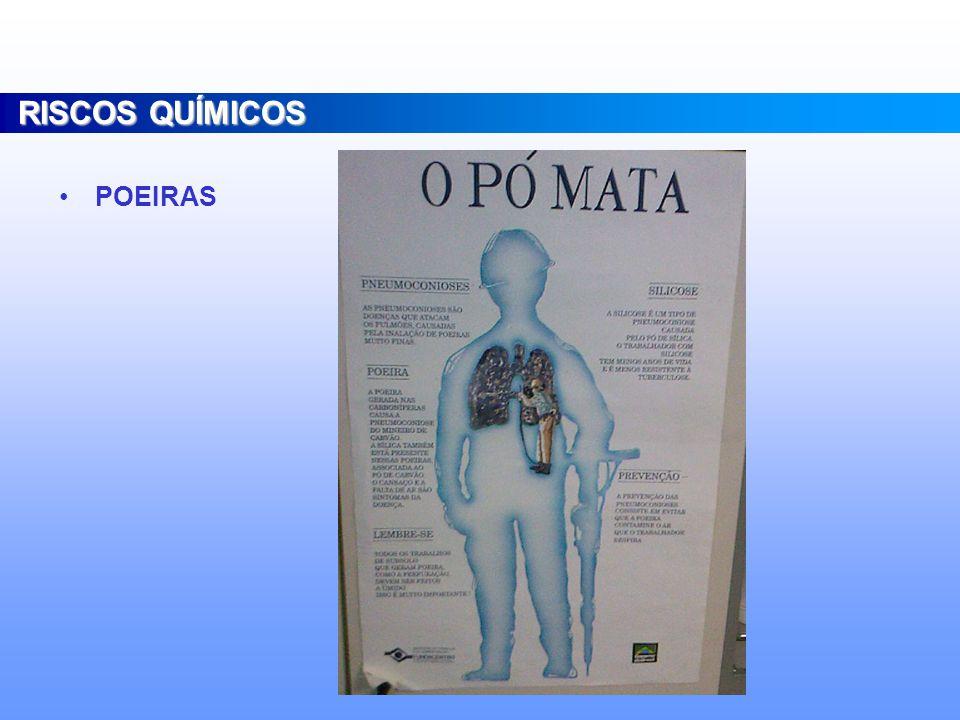 POEIRAS RISCOS QUÍMICOS Minerais Vegetais Alcalinas Incômodas Silicose, Asbestose. Bissinose, Bagaçose Enfizema pulmonar potencializa nocividade