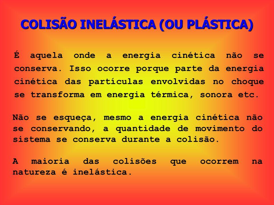 COLISÃO INELÁSTICA (OU PLÁSTICA) É aquela onde a energia cinética não se conserva. Isso ocorre porque parte da energia cinética das partículas envolvi