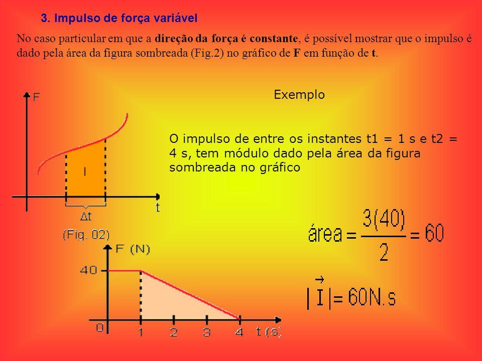 3. Impulso de força variável No caso particular em que a direção da força é constante, é possível mostrar que o impulso é dado pela área da figura som
