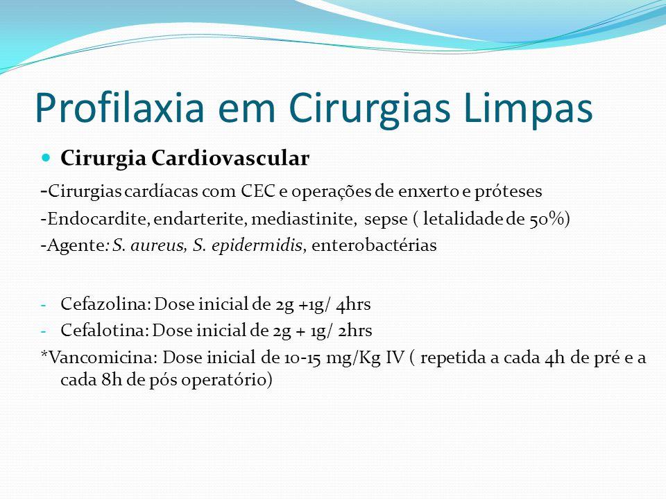 Profilaxia em Cirurgias Limpas Cirurgia Cardiovascular - Cirurgias cardíacas com CEC e operações de enxerto e próteses -Endocardite, endarterite, mediastinite, sepse ( letalidade de 50%) -Agente: S.