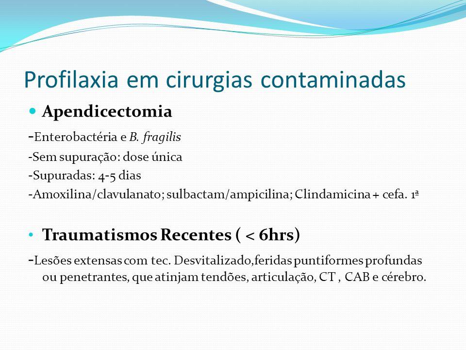 Profilaxia em cirurgias contaminadas Apendicectomia - Enterobactéria e B. fragilis -Sem supuração: dose única -Supuradas: 4-5 dias -Amoxilina/clavulan