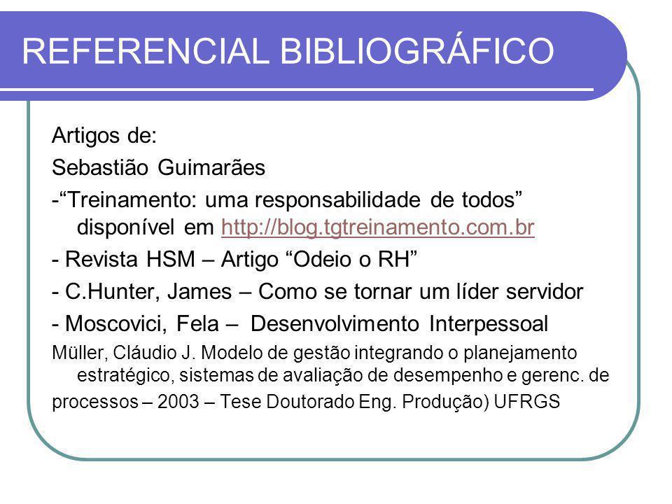 REFERENCIAL BIBLIOGRÁFICO Artigos de: Sebastião Guimarães -Treinamento: uma responsabilidade de todos disponível em http://blog.tgtreinamento.com.brht