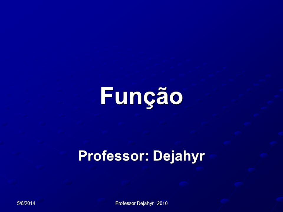 5/6/2014 Professor Dejahyr - 2010 Função Professor: Dejahyr