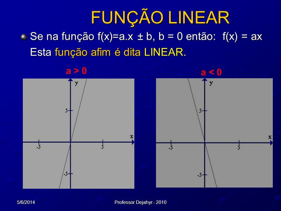 5/6/2014Professor Dejahyr - 2010 FUNÇÃO LINEAR Se na função f(x)=a.x ± b, b = 0 então: f(x) = ax Esta função afim é dita LINEAR. a < 0 a > 0