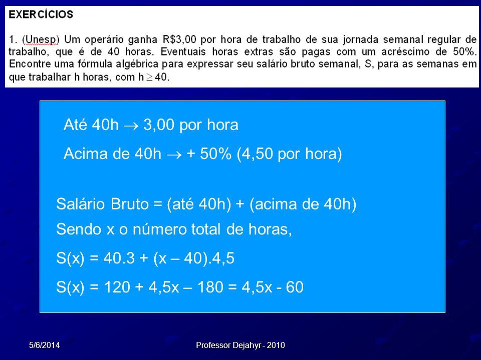 5/6/2014Professor Dejahyr - 2010 Até 40h 3,00 por hora Acima de 40h + 50% (4,50 por hora) Salário Bruto = (até 40h) + (acima de 40h) Sendo x o número