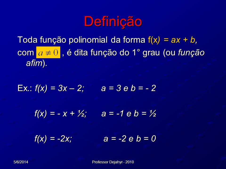 5/6/2014Professor Dejahyr - 2010 Definição Toda função polinomial da forma f(x) = ax + b, com, é dita função do 1° grau (ou função afim). Ex.: f(x) =