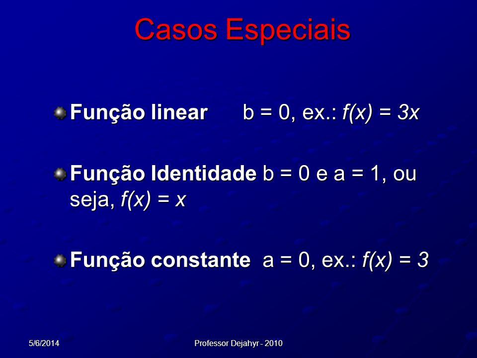 5/6/2014Professor Dejahyr - 2010 Casos Especiais Função linearb = 0, ex.: f(x) = 3x Função Identidade b = 0 e a = 1, ou seja, f(x) = x Função constant