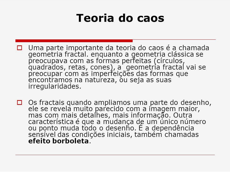 Teoria do caos Uma parte importante da teoria do caos é a chamada geometria fractal.