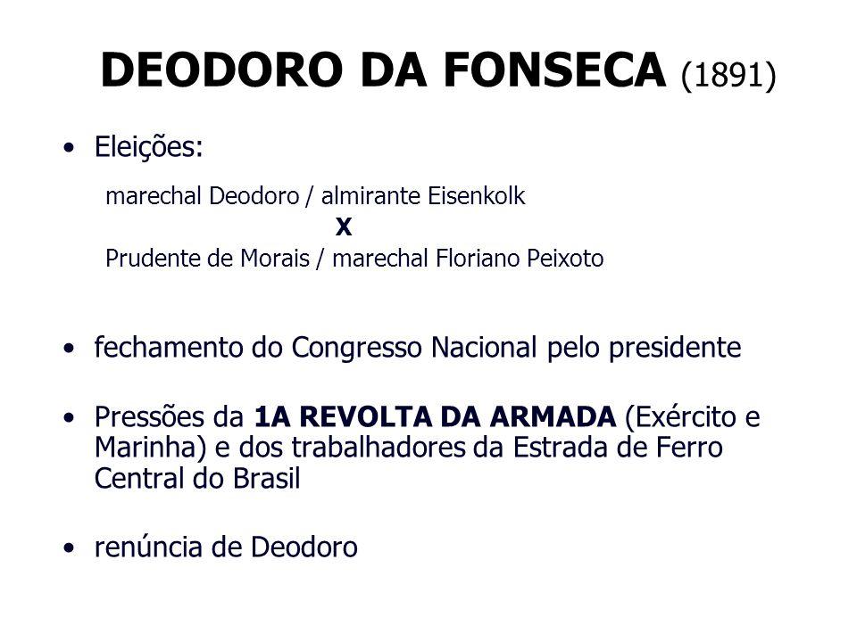 DEODORO DA FONSECA (1891) Eleições: marechal Deodoro / almirante Eisenkolk X Prudente de Morais / marechal Floriano Peixoto fechamento do Congresso Na
