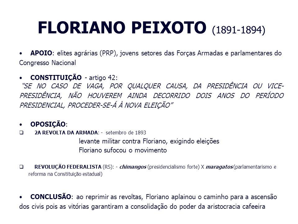 FLORIANO PEIXOTO (1891-1894) APOIO: elites agrárias (PRP), jovens setores das Forças Armadas e parlamentares do Congresso Nacional CONSTITUIÇÃO - arti