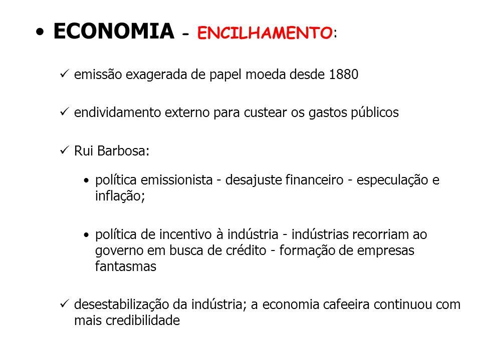 ECONOMIA - ENCILHAMENTO: emissão exagerada de papel moeda desde 1880 endividamento externo para custear os gastos públicos Rui Barbosa: política emiss
