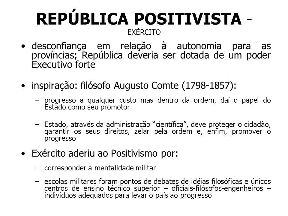REPÚBLICA POSITIVISTA - EXÉRCITO desconfiança em relação à autonomia para as províncias; República deveria ser dotada de um poder Executivo forte insp