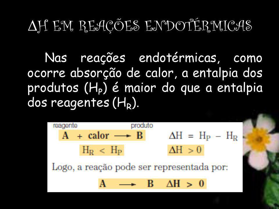 Δ H EM REAÇÕES ENDOTÉRMICAS Nas reações endotérmicas, como ocorre absorção de calor, a entalpia dos produtos (H P ) é maior do que a entalpia dos reagentes (H R ).