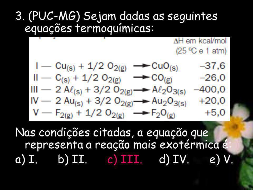 3. (PUC-MG) Sejam dadas as seguintes equações termoquímicas: Nas condições citadas, a equação que representa a reação mais exotérmica é: a) I. b) II.