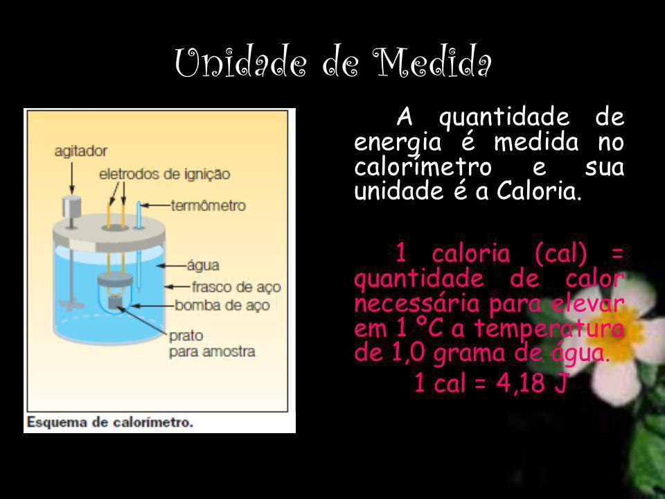 Unidade de Medida A quantidade de energia é medida no calorímetro e sua unidade é a Caloria. 1 caloria (cal) = quantidade de calor necessária para ele