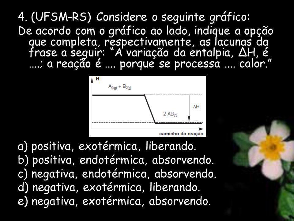 4. (UFSM-RS) Considere o seguinte gráfico: De acordo com o gráfico ao lado, indique a opção que completa, respectivamente, as lacunas da frase a segui