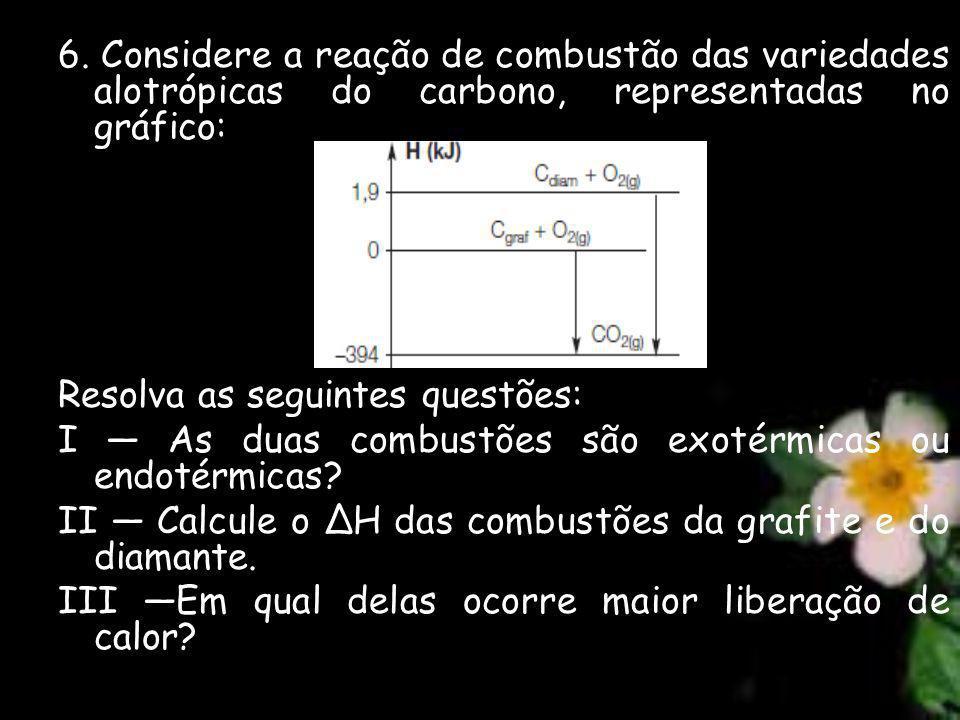 6. Considere a reação de combustão das variedades alotrópicas do carbono, representadas no gráfico: Resolva as seguintes questões: I As duas combustõe