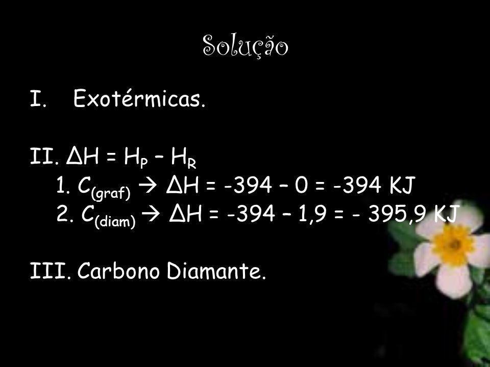 Solução I.Exotérmicas. II. ΔH = H P – H R 1. C (graf) ΔH = -394 – 0 = -394 KJ 2. C (diam) ΔH = -394 – 1,9 = - 395,9 KJ III. Carbono Diamante.