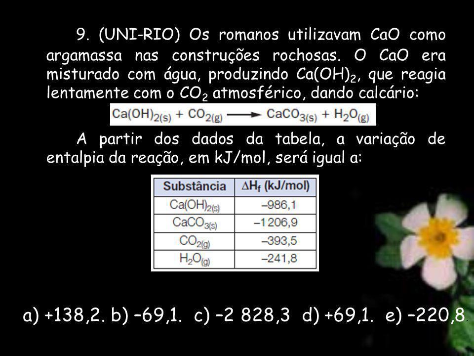 9. (UNI-RIO) Os romanos utilizavam CaO como argamassa nas construções rochosas. O CaO era misturado com água, produzindo Ca(OH) 2, que reagia lentamen