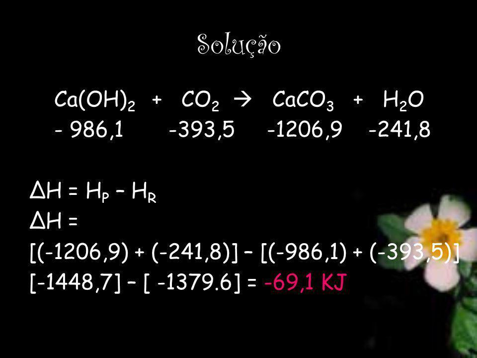 Solução Ca(OH) 2 + CO 2 CaCO 3 + H 2 O - 986,1 -393,5 -1206,9 -241,8 ΔH = H P – H R ΔH = [(-1206,9) + (-241,8)] – [(-986,1) + (-393,5)] [-1448,7] – [ -1379.6] = -69,1 KJ