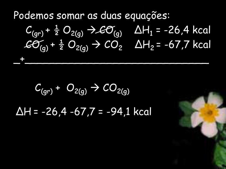 Podemos somar as duas equações: C (gr) + ½ O 2(g) CO (g) ΔH 1 = -26,4 kcal CO (g) + ½ O 2(g) CO 2 ΔH 2 = -67,7 kcal _+_____________________________ C (gr) + O 2(g) CO 2(g) ΔH = -26,4 -67,7 = -94,1 kcal