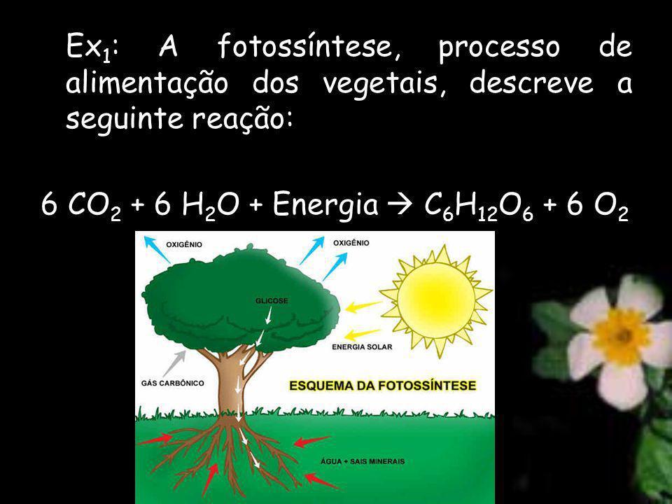 Ex 1 : A fotossíntese, processo de alimentação dos vegetais, descreve a seguinte reação: 6 CO 2 + 6 H 2 O + Energia C 6 H 12 O 6 + 6 O 2