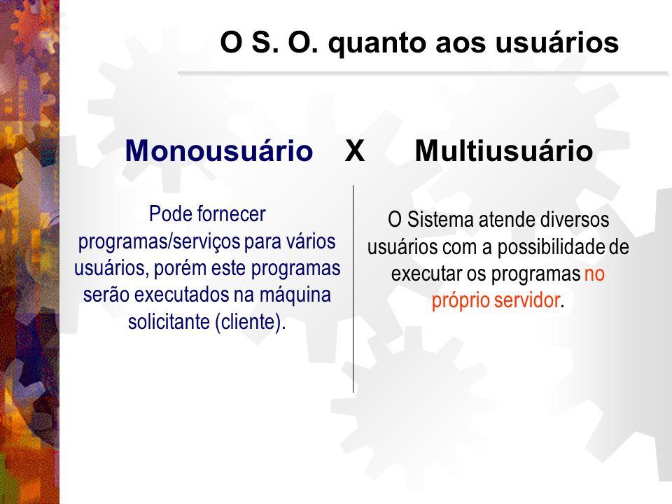 Monousuário X Multiusuário Pode fornecer programas/serviços para vários usuários, porém este programas serão executados na máquina solicitante (cliente).