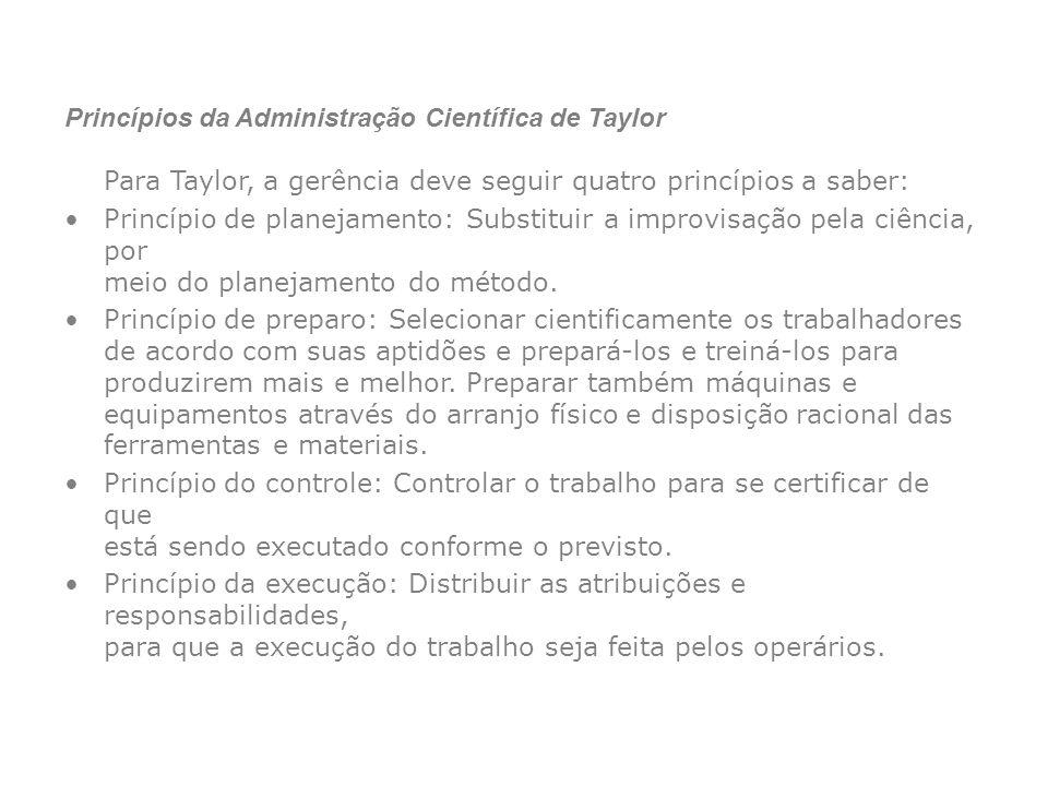 Princípios da Administração Científica de Taylor Para Taylor, a gerência deve seguir quatro princípios a saber: Princípio de planejamento: Substituir