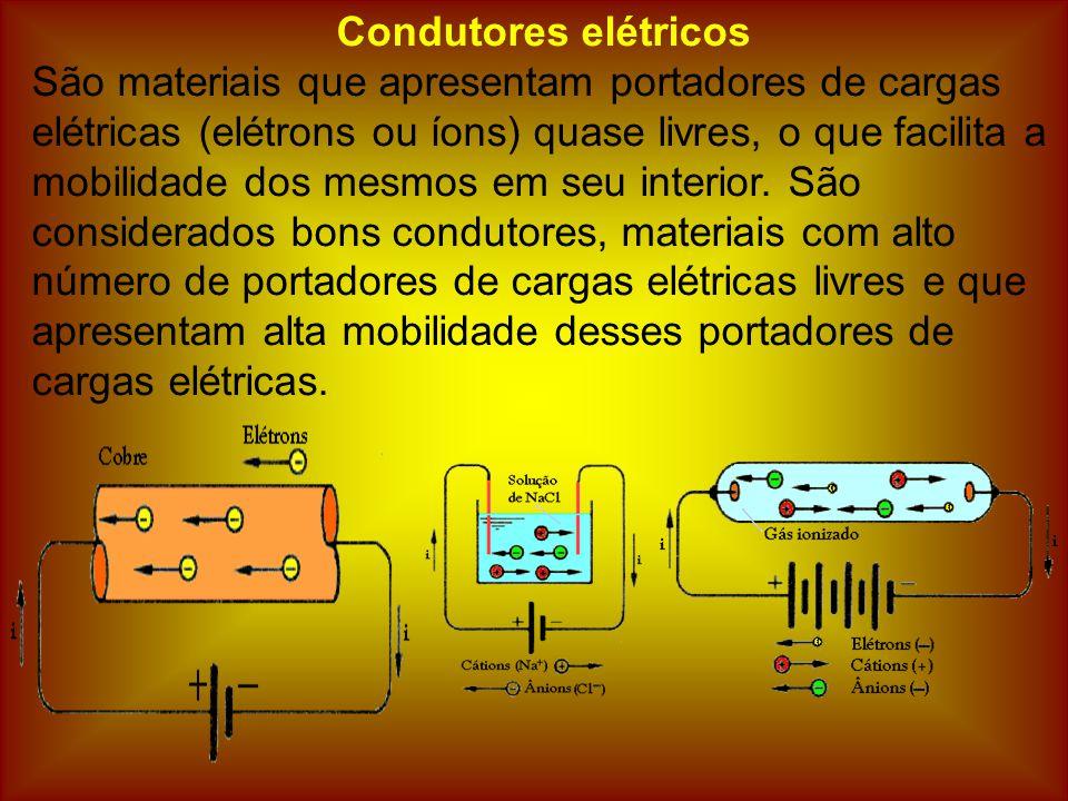 Condutores elétricos São materiais que apresentam portadores de cargas elétricas (elétrons ou íons) quase livres, o que facilita a mobilidade dos mesmos em seu interior.