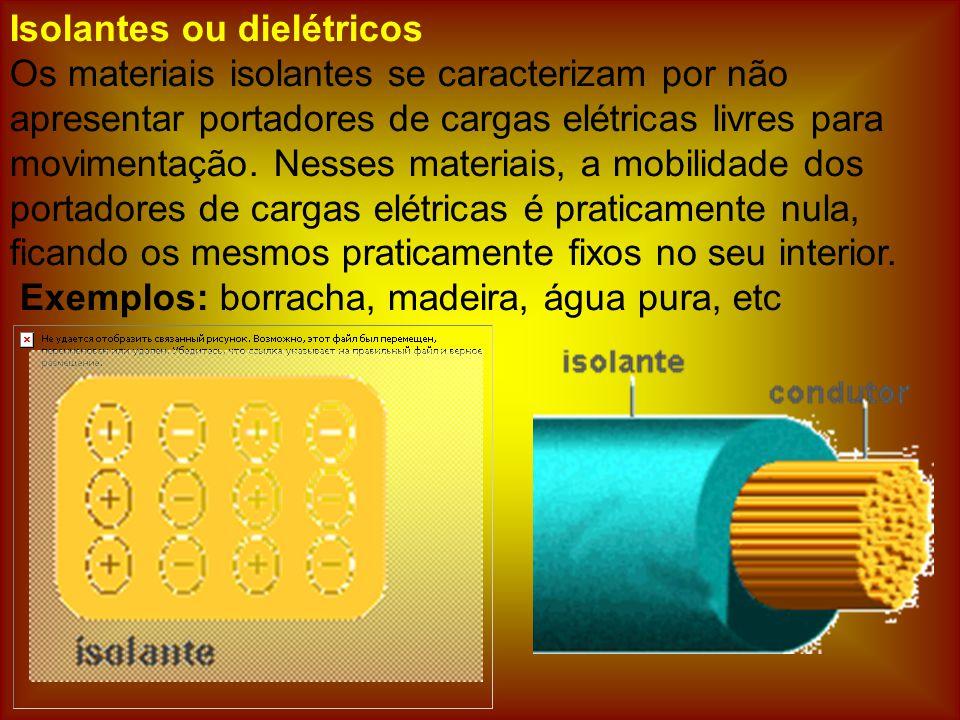 Isolantes ou dielétricos Os materiais isolantes se caracterizam por não apresentar portadores de cargas elétricas livres para movimentação.