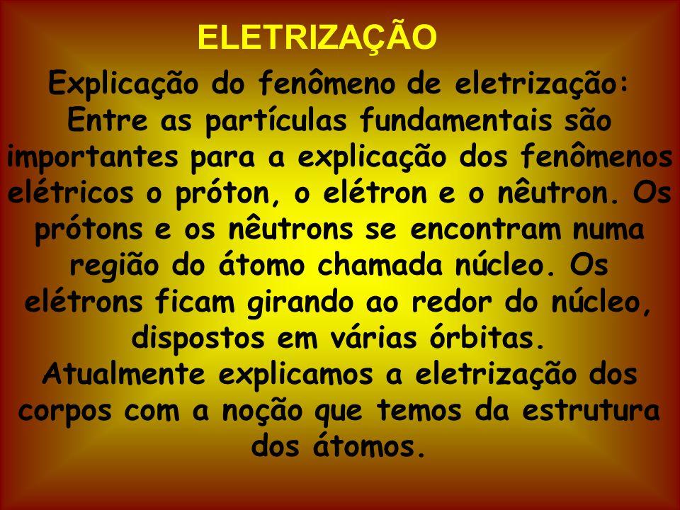 ELETRIZAÇÃO Explicação do fenômeno de eletrização: Entre as partículas fundamentais são importantes para a explicação dos fenômenos elétricos o próton, o elétron e o nêutron.