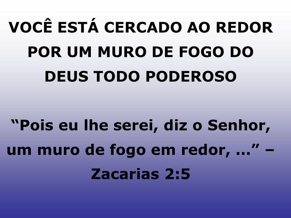 VOCÊ ESTÁ CERCADO AO REDOR POR UM MURO DE FOGO DO DEUS TODO PODEROSO Pois eu lhe serei, diz o Senhor, um muro de fogo em redor,... – Zacarias 2:5