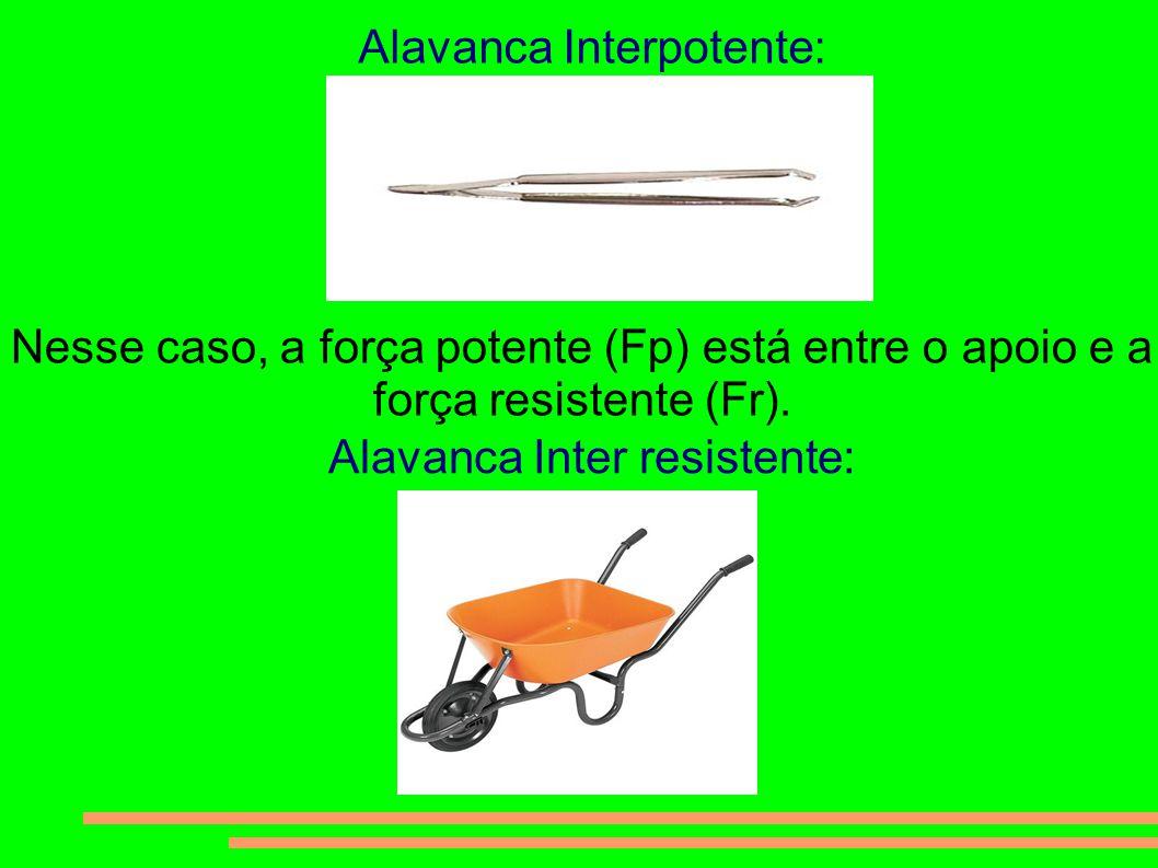 Alavanca Interpotente: Nesse caso, a força potente (Fp) está entre o apoio e a força resistente (Fr). Alavanca Inter resistente: