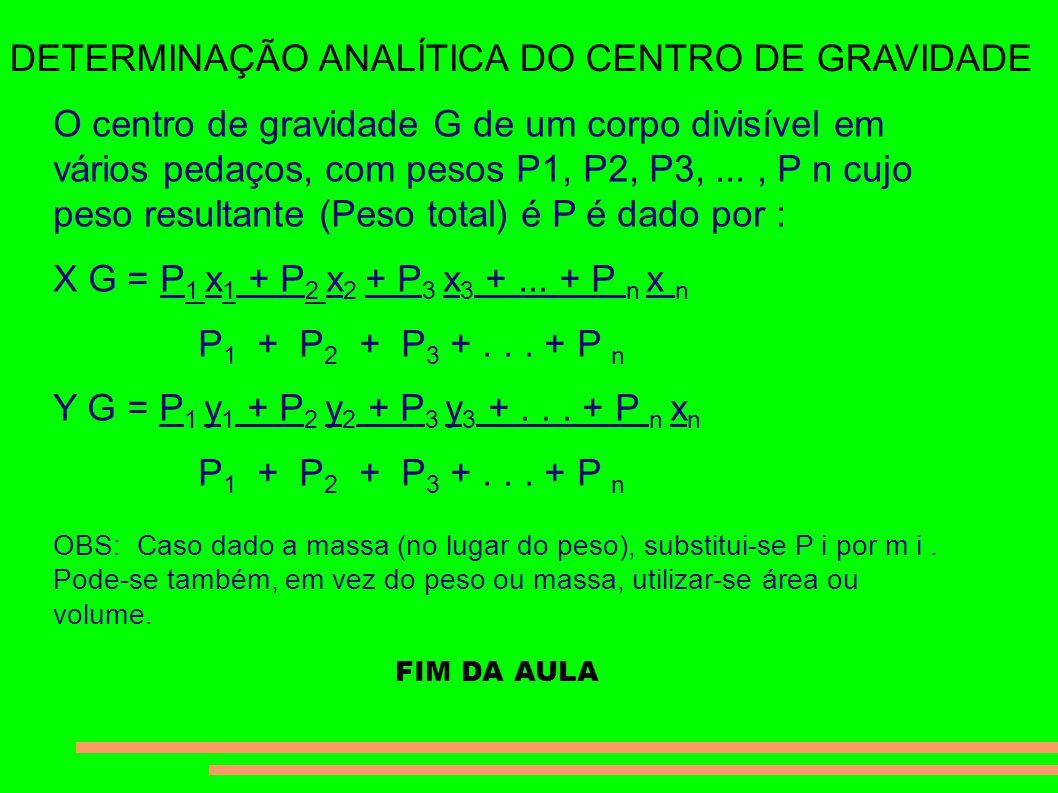 DETERMINAÇÃO ANALÍTICA DO CENTRO DE GRAVIDADE O centro de gravidade G de um corpo divisível em vários pedaços, com pesos P1, P2, P3,..., P n cujo peso resultante (Peso total) é P é dado por : X G = P 1 x 1 + P 2 x 2 + P 3 x 3 +...