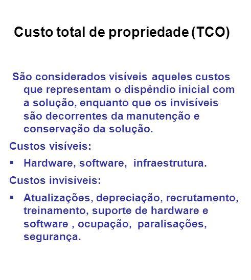 Custo total de propriedade (TCO) São considerados visíveis aqueles custos que representam o dispêndio inicial com a solução, enquanto que os invisíveis são decorrentes da manutenção e conservação da solução.