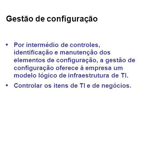 Gestão de configuração Por intermédio de controles, identificação e manutenção dos elementos de configuração, a gestão de configuração oferece à empresa um modelo lógico de infraestrutura de TI.