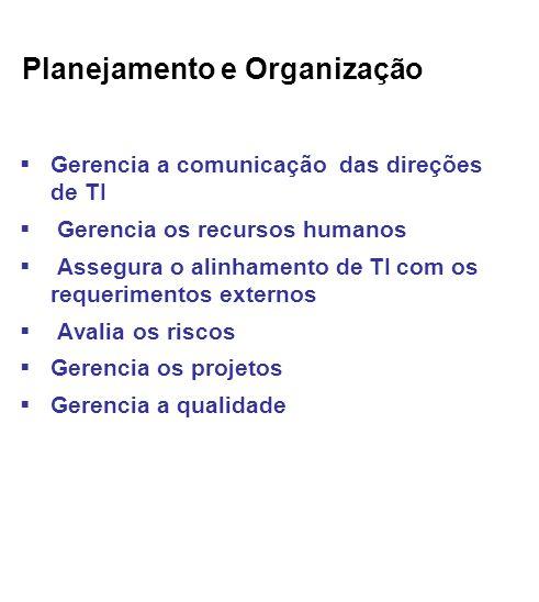 Planejamento e Organização Gerencia a comunicação das direções de TI Gerencia os recursos humanos Assegura o alinhamento de TI com os requerimentos externos Avalia os riscos Gerencia os projetos Gerencia a qualidade