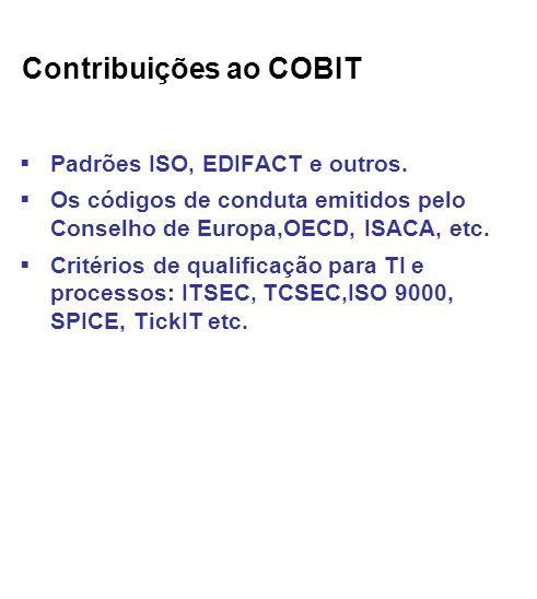 Contribuições ao COBIT Padrões ISO, EDIFACT e outros.