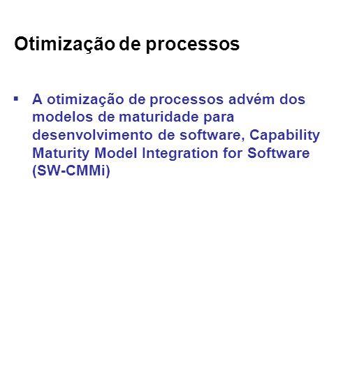 Otimização de processos A otimização de processos advém dos modelos de maturidade para desenvolvimento de software, Capability Maturity Model Integration for Software (SW-CMMi)