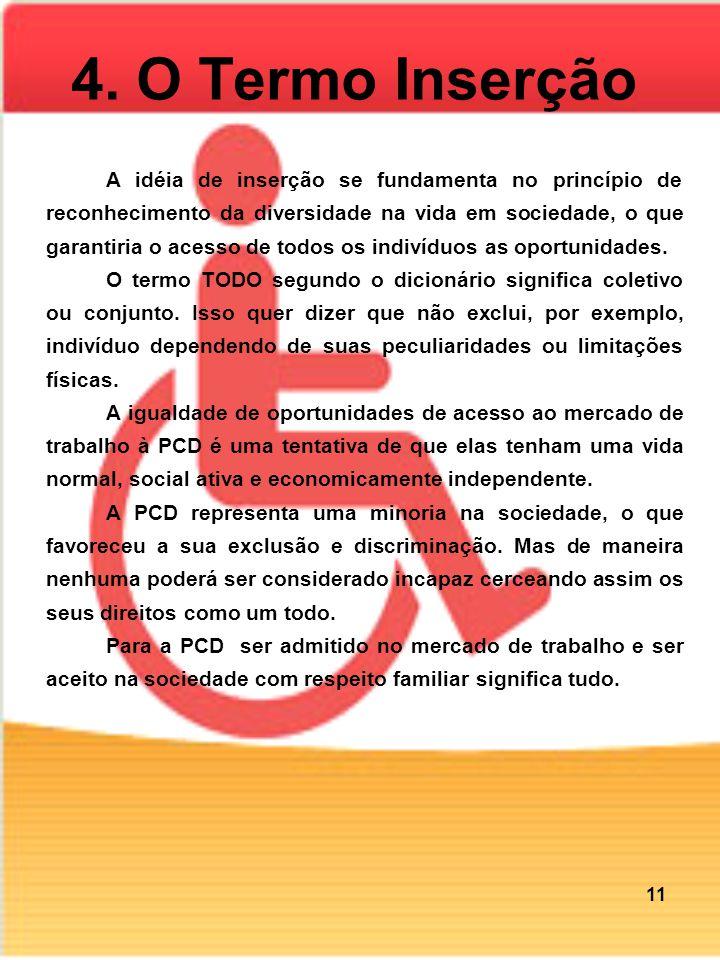 4. O Termo Inserção A idéia de inserção se fundamenta no princípio de reconhecimento da diversidade na vida em sociedade, o que garantiria o acesso de