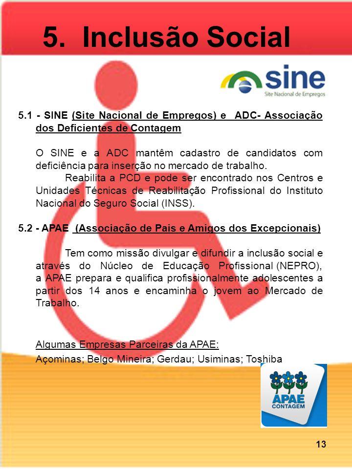 5.1 - SINE (Site Nacional de Empregos) e ADC- Associação dos Deficientes de Contagem O SINE e a ADC mantêm cadastro de candidatos com deficiência para inserção no mercado de trabalho.