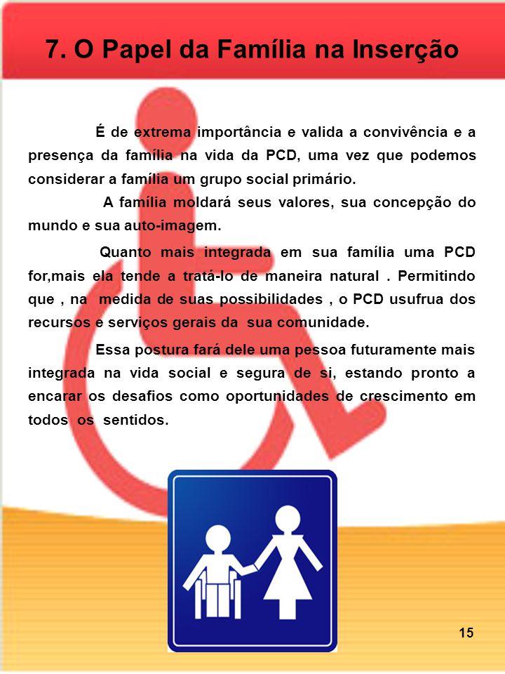 7. O Papel da Família na Inserção É de extrema importância e valida a convivência e a presença da família na vida da PCD, uma vez que podemos consider