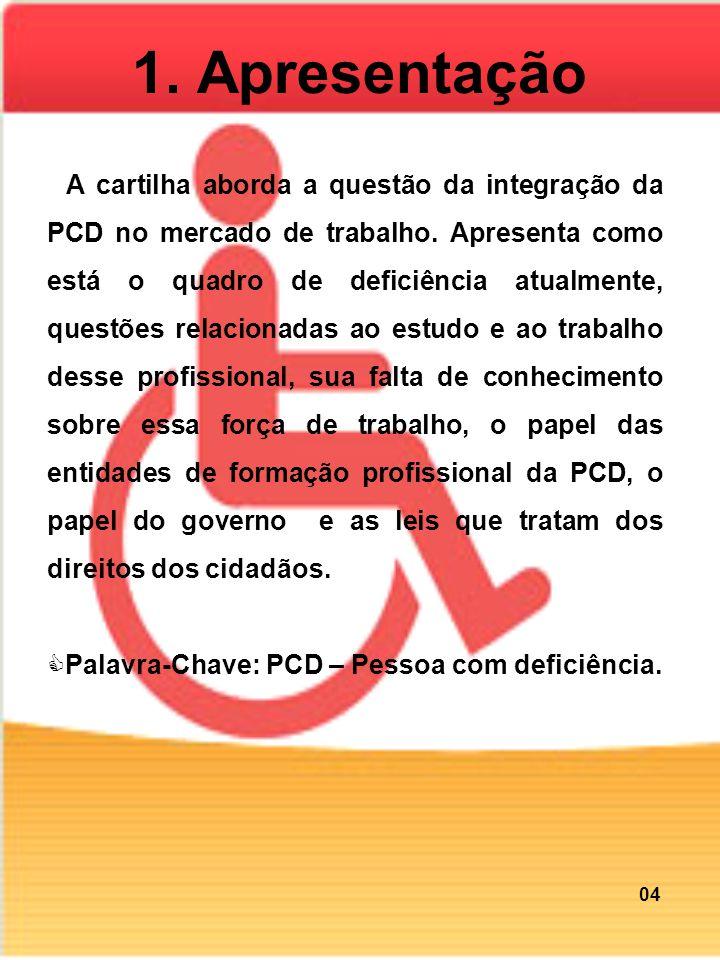 1. Apresentação A cartilha aborda a questão da integração da PCD no mercado de trabalho. Apresenta como está o quadro de deficiência atualmente, quest