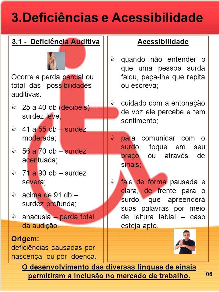 3.Deficiências e Acessibilidade 3.1 - Deficiência Auditiva Ocorre a perda parcial ou total das possibilidades auditivas: 25 a 40 db (decibéis) – surde