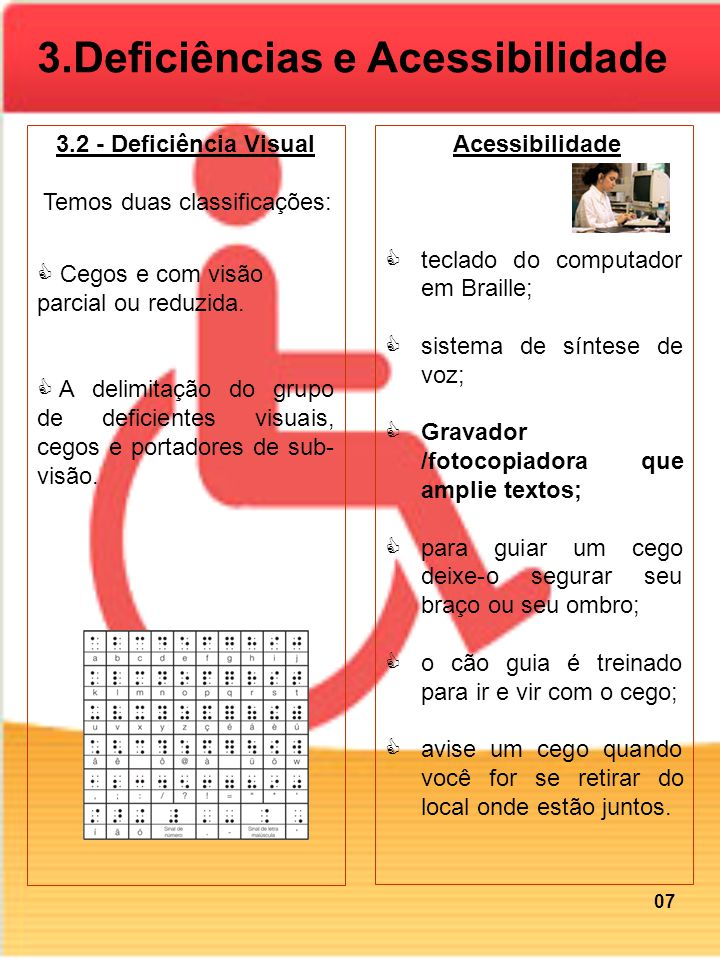 3.2 - Deficiência Visual Temos duas classificações: Cegos e com visão parcial ou reduzida. A delimitação do grupo de deficientes visuais, cegos e port