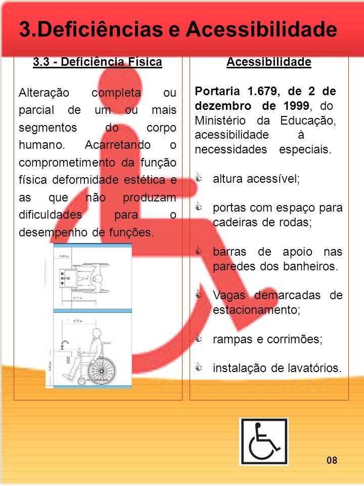 3.3 - Deficiência Física Alteração completa ou parcial de um ou mais segmentos do corpo humano. Acarretando o comprometimento da função física deformi