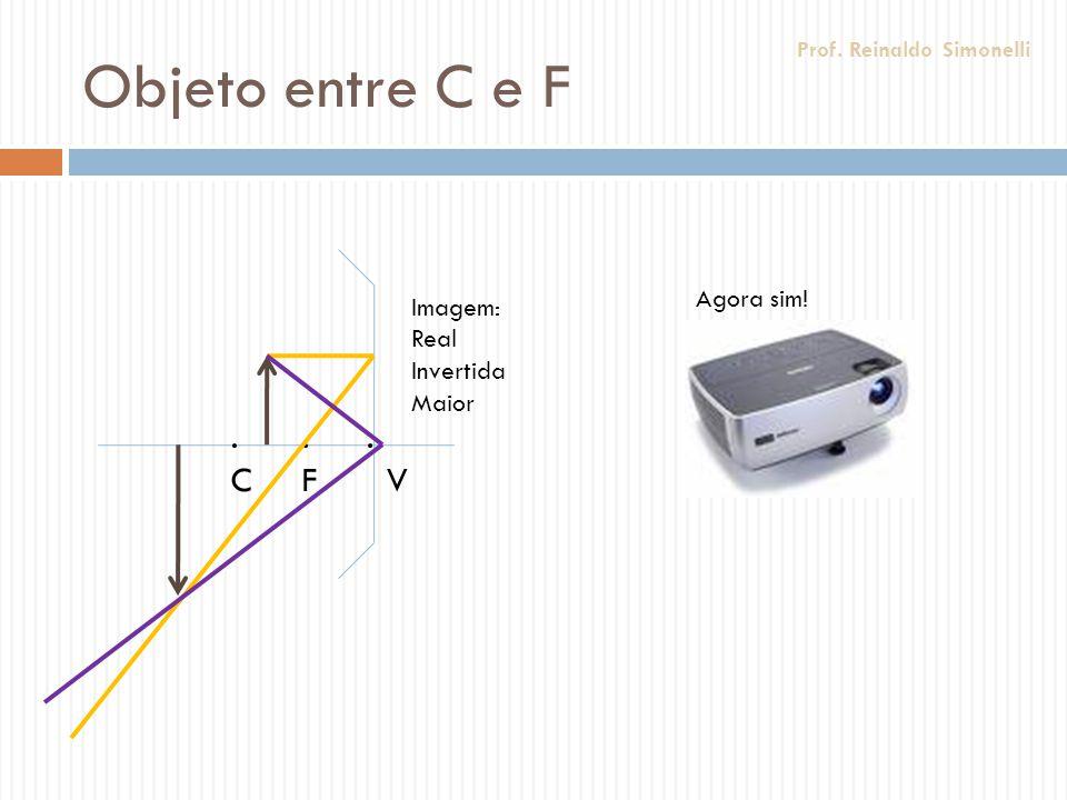 Objeto entre C e F.F.F.C.C. V Imagem: Real Invertida Maior Agora sim! Prof. Reinaldo Simonelli