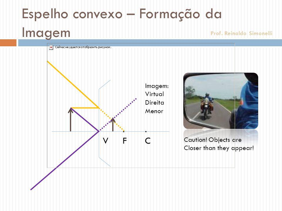 Espelho convexo – Formação da Imagem.F.F.C.C. V Imagem: Virtual Direita Menor Caution! Objects are Closer than they appear! Prof. Reinaldo Simonelli