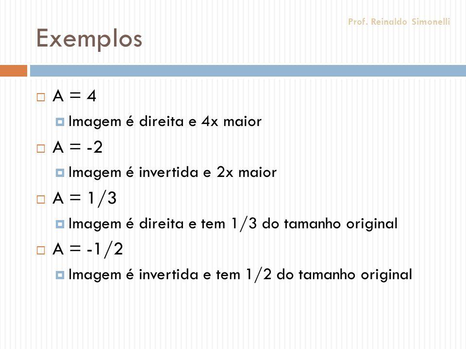 Exemplos A = 4 Imagem é direita e 4x maior A = -2 Imagem é invertida e 2x maior A = 1/3 Imagem é direita e tem 1/3 do tamanho original A = -1/2 Imagem