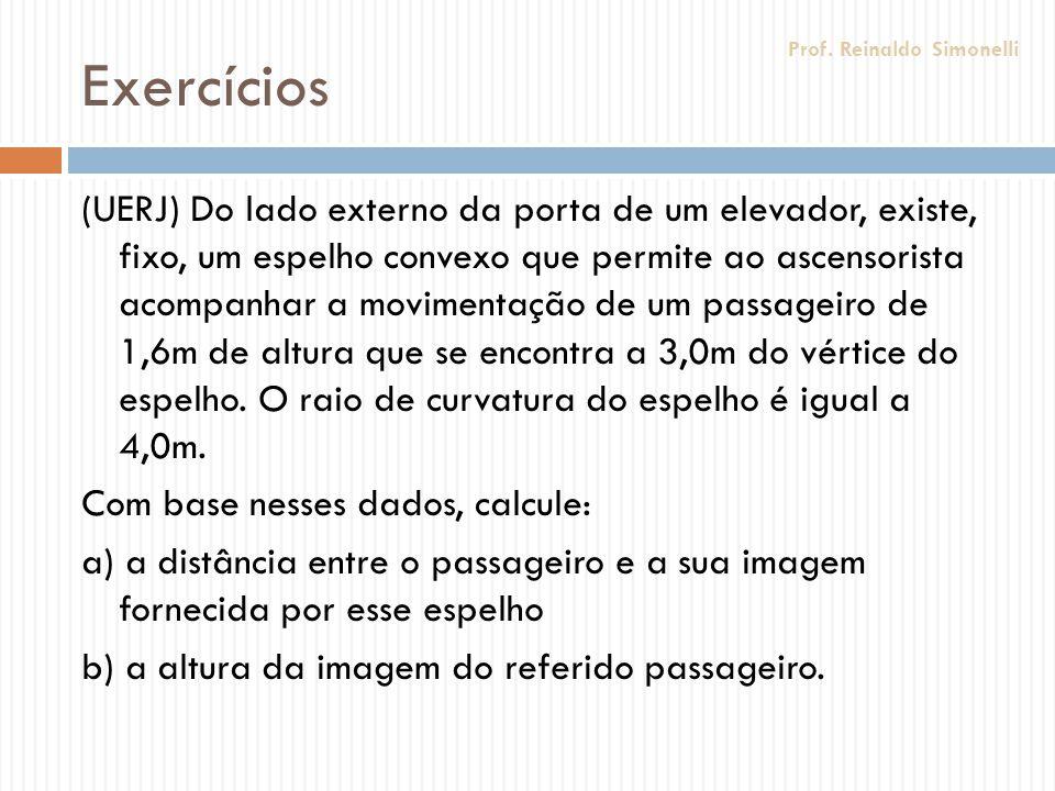 Exercícios (UERJ) Do lado externo da porta de um elevador, existe, fixo, um espelho convexo que permite ao ascensorista acompanhar a movimentação de u